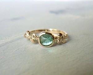 青いトルマリンとリーフの指輪