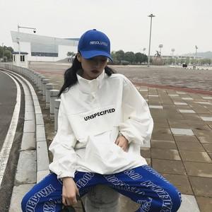 【トップス】韓国系ゆったりアルファベットスタンドネックパーカー22739038