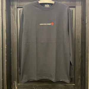 DOUBLE STEAL : Simple Stick DOU embroidery L/S TEE  /  BLACK  Mサイズ