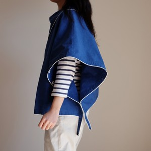 short!short!オーバーコート 【Short-length overcoat of cotton nylon 】-Piping of white to royal blue-