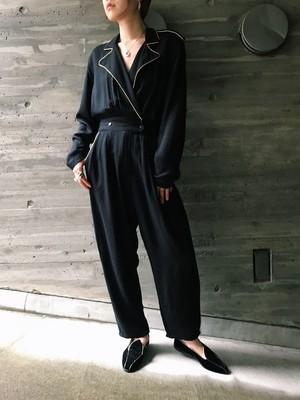 80s black × gold jumpsuits ( ヴィンテージ ブラック × ゴールド オールインワン