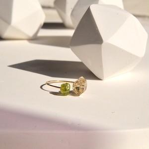 Herkimar diamond and Peridot twin