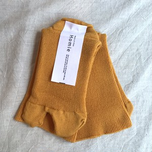 【Homie】綿コットン タビソックス イエロー ストレスフリー 日本製 靴下 レディース ナチュラル 天然素材【ホミー】