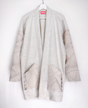 White wool haori coat