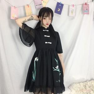 【ワンピース】新作レトロ清新ルーズプリント切り替えAラインワンピース