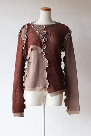 【kotohayokozawa】docking knit-brown