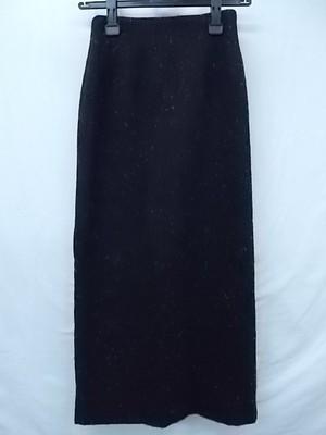 23区 オンワード樫山 厚手ウールロングスカート タイト ブラック 白ドット柄 36サイズ スカート総丈85★古着 レディース 良品
