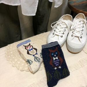 TOPANGA FASHION カラフルネップソックス フクロウ/2色