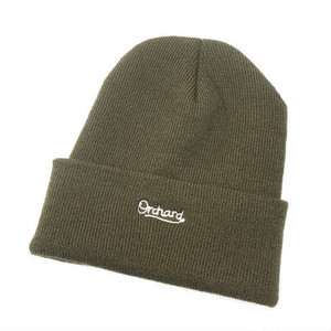 ORCHARD / SCRIPT EMBROIDERED OLIVE WOVEN BEANIE