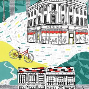 輸入壁紙【Graham & Brown グラハムアンドブラウン】Tour De Yorks Multi 50-808 ツールドヨーク バイク 自転車 街 フリース