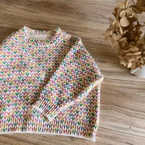 *7/12-14新商品10%off【先行予約】カラフルハートセーター