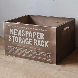 男前 新聞ストッカー 収納ボックス ダークブラウン