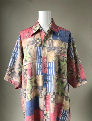 USED / Art pattern silk & cotton s/s shirts