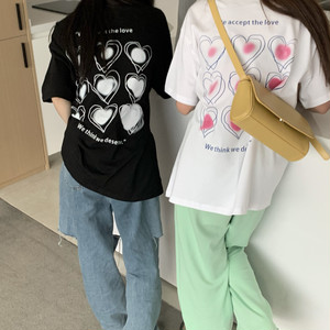 バックハートプリントルーズTシャツ S4291