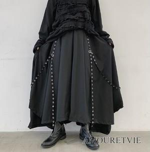 メンズ 袴パンツ カジュアルパンツ ワイドレッグパンツ レディース ユニセックス 黒 ブラック ピープス ロック 原宿 系 ストリート オルチャン 韓国ファッション 1201