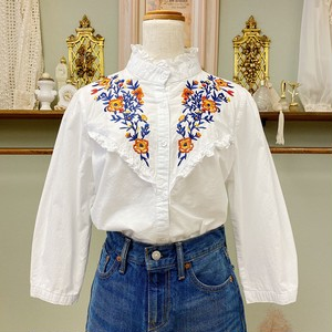 flower embroidery cotton blouse