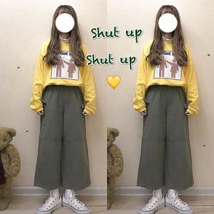 【ボトムス】春秋カジュアルスウィートハイウエストレギュラー丈パンツ