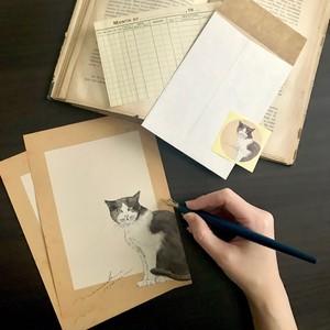 【nemunoki paper item】HACHIWARE CAT レターセット