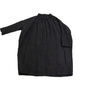 リネン絞りワンピース*黒