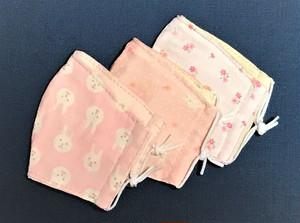 立体ガーゼマスク・Sサイズ3枚組(リバーシブルタイプ)うさぎピンク、小花うさぎピンク、小花ピンク