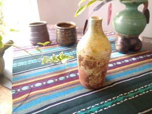 穴窯 薪窯琉青釉 花器 E-0030