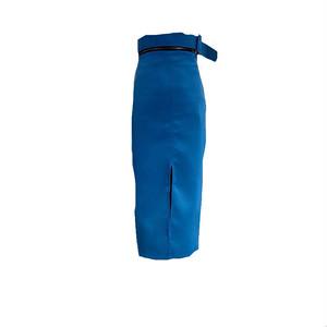 ジップベルトスリットロングスカート(Blue,Black) 79