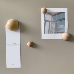 wood ball magnet 4pics set / ウッドボール マグネット セット 磁石 韓国 北欧 インテリア 雑貨