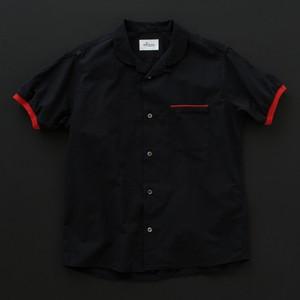 オープンカラーシャツ(丸衿) 黒×赤+P