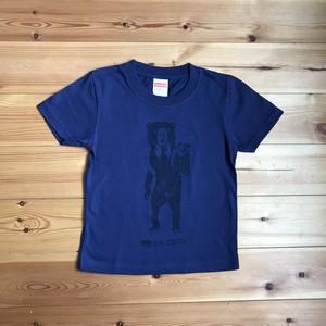 【Tシャツ(こどもサイズ)】キノコ狩りをするマレーグマ(インディゴ×ネイビー)
