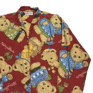 90's テディベア総柄 パジャマシャツ