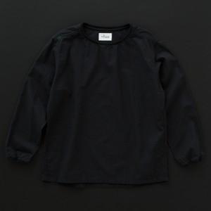 ユニセックス crew neck (綿麻) 黒
