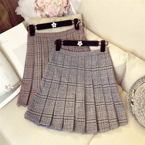 プリーツスカート チェック柄 ミニスカート 2色 LNSK102103J