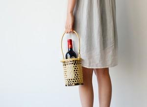 秋桜籠(花瓶入れ・ボトルバッグ)小林ミドリ竹籠店