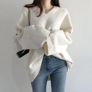 ✨12.12特典✨【トップス】ファッション長袖無地セーター・カットソー24446392