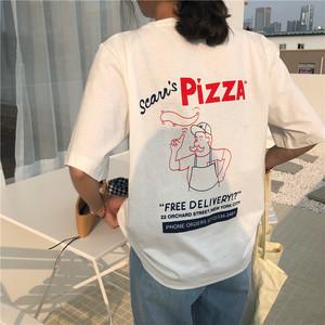 【トップス】カジュアルプリントコットン半袖Tシャツ
