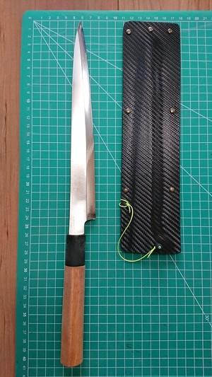 中古o1112 切れる刺身包丁 文明銀丁 刃長約250mm+2特典
