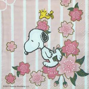 限定品【SNOOPY】バラ売り1枚 ランチサイズ ペーパーナプキン 和柄スヌーピー 四季の花 パステル