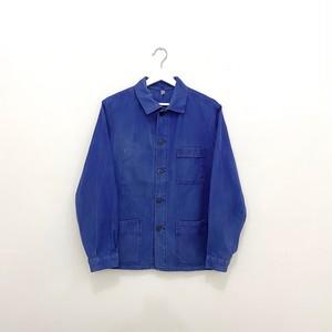 "FRANCE 80s~vintage""KIDUR""ink blue cotton twill work jacket"