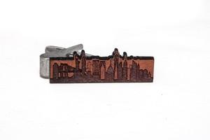 ヴィンテージ チェリーウッド ネクタイクリップ ニューヨーク Wooden Tie Bar New York skyline -Cherry