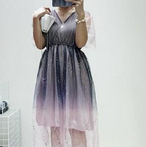 メッシュドレス ワンピースドレス グラデーション Vネック 透け感 スパンコール エレガント フェミニン キュート セクシー デート お食事会 お呼ばれ イベント パーティー