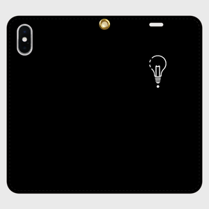 【X,8,7】ロゴiPhoneケース手帳型黒