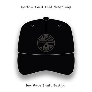 Cotton Twill Flat Visor Cap / Sun Face Skull Design ( Black Embroidery )