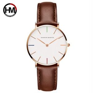 女性の時計クリエイティブトップブランド日本クォーツムーブメント時計ファッションシンプルな因果レザーストラップ女性の防水腕時計3690-B36-FK