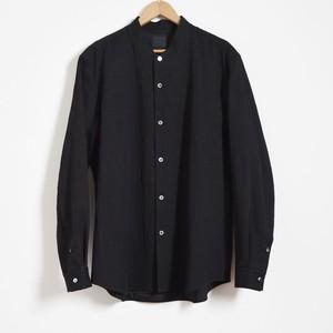 山内 yamauchi 有松塩縮加工リネンシャツ スタンド衿 black