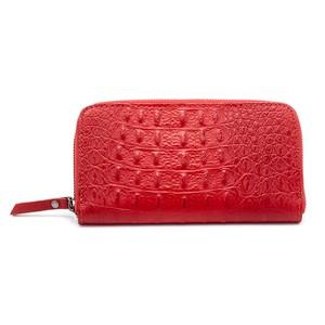 イタリア牛革 財布クロコダイル型押し 赤