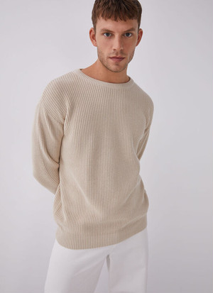 COTTON TEXTURED-KNIT SWEATER