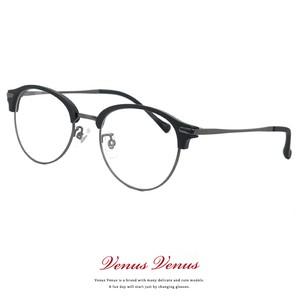 メガネ ブロータイプ サーモント型 2376-12 レディース Mサイズ メンズ Sサイズ 女性 男性 ボストン 丸メガネ コンビネーションフレーム