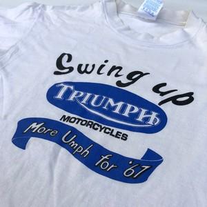 90's Hanes BEEFY-T TRIUMPH T-Shirts トライアンフ モーターサイクル ビンテージ Tシャツ 4段プリント(S) T120ボンネビル TR6トロフィー