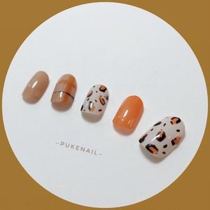 Pukeネイル [No.135]レオパード柄・オレンジ色♡ジェイルネイルチップ