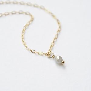 ダイヤモンドのライス一粒ネックレス/14kgf/C/N10152